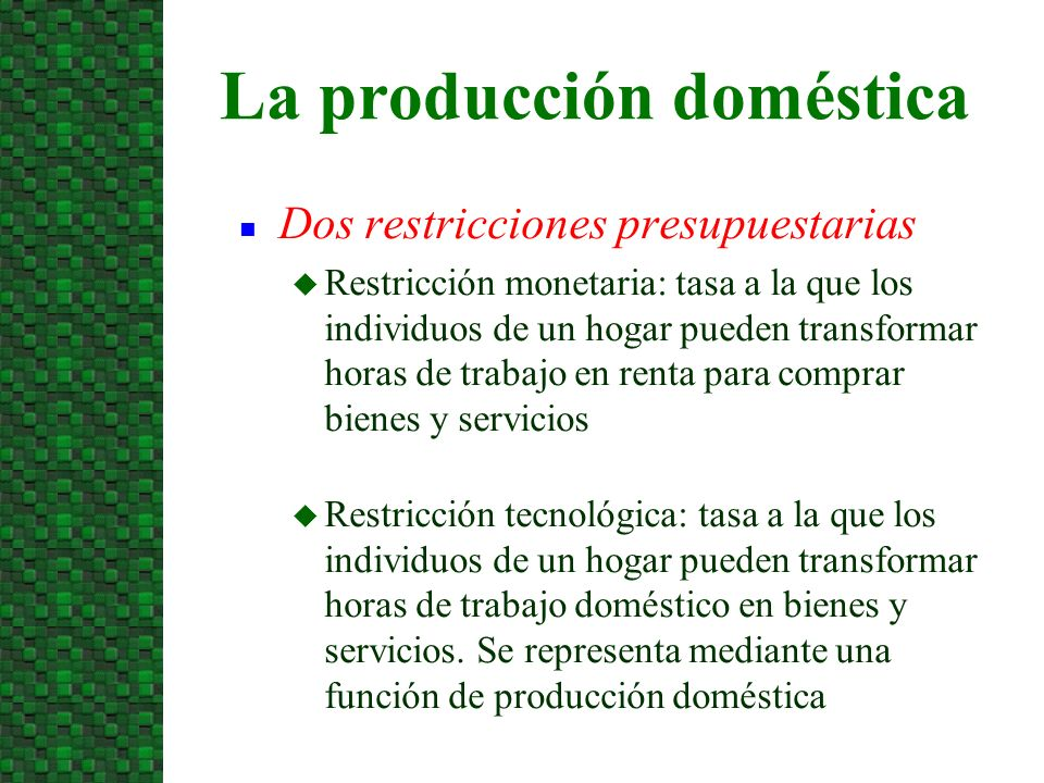 n Dos restricciones presupuestarias u Restricción monetaria: tasa a la que los individuos de un hogar pueden transformar horas de trabajo en renta par