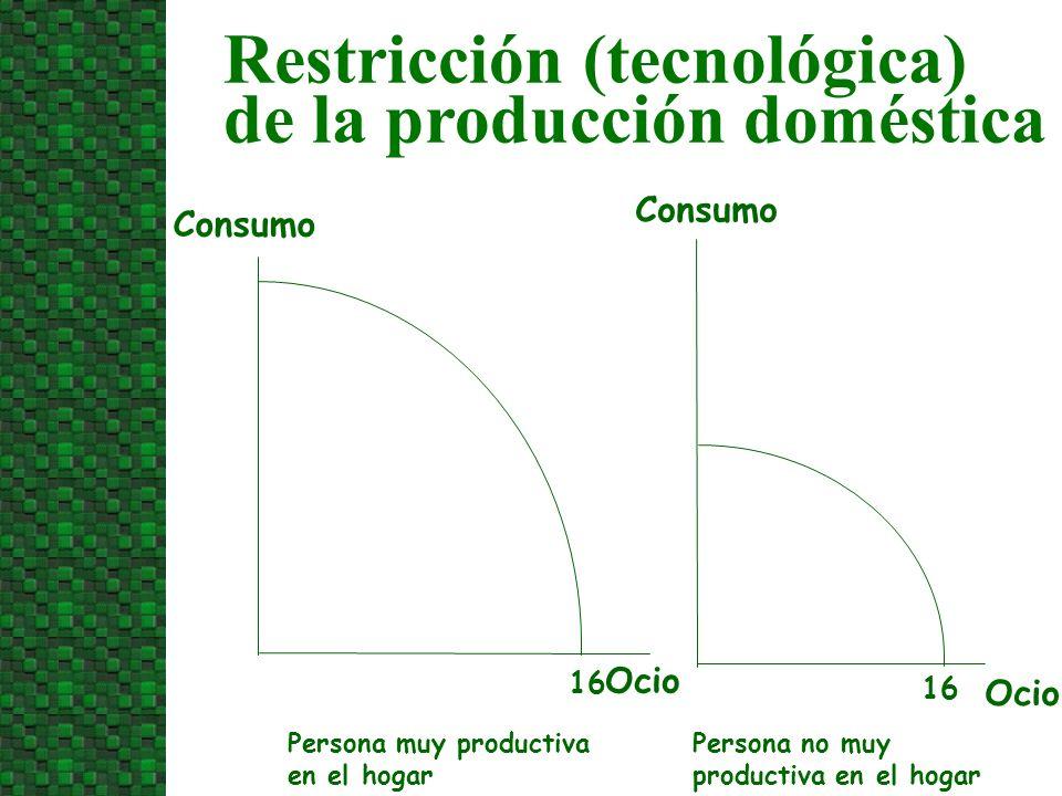 Ocio Persona muy productiva en el hogar Consumo 16 Ocio 16 Consumo Persona no muy productiva en el hogar Restricción (tecnológica) de la producción do