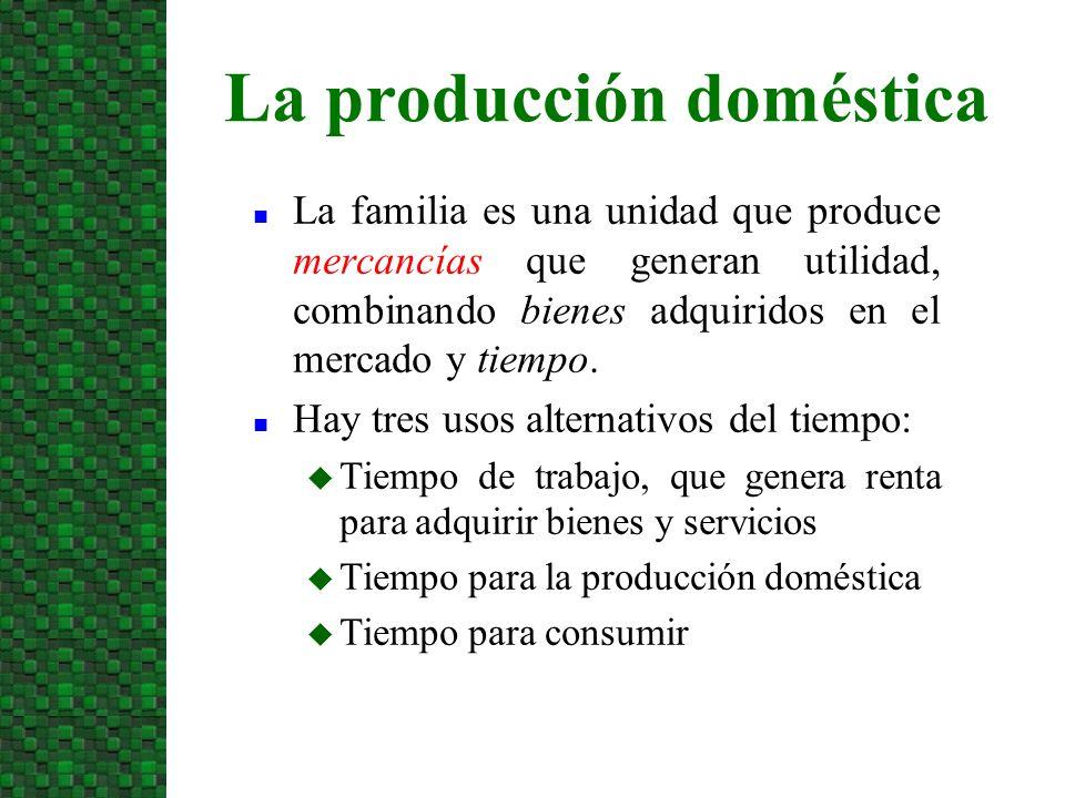 n Supuesto básico: los individuos son productivos tanto en hogar como en el mercado, pero sus productividades pueden ser distintas en ambos casos n Función de Producción Doméstica: u Los bienes de consumo pueden comprarse en el mercado o producirse en casa u La productividad marginal doméstica es decreciente u Hay diferencias individuales en la productividad La producción doméstica