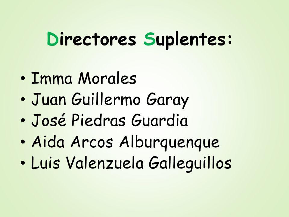 Directores Suplentes: Imma Morales Juan Guillermo Garay José Piedras Guardia Aida Arcos Alburquenque Luis Valenzuela Galleguillos
