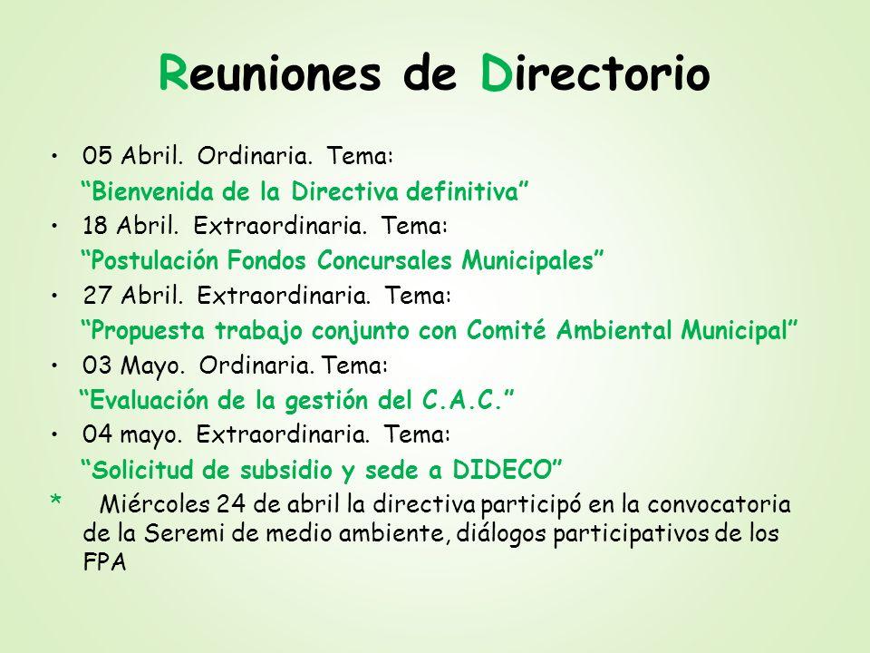 Reuniones de Directorio 05 Abril. Ordinaria. Tema: Bienvenida de la Directiva definitiva 18 Abril. Extraordinaria. Tema: Postulación Fondos Concursale