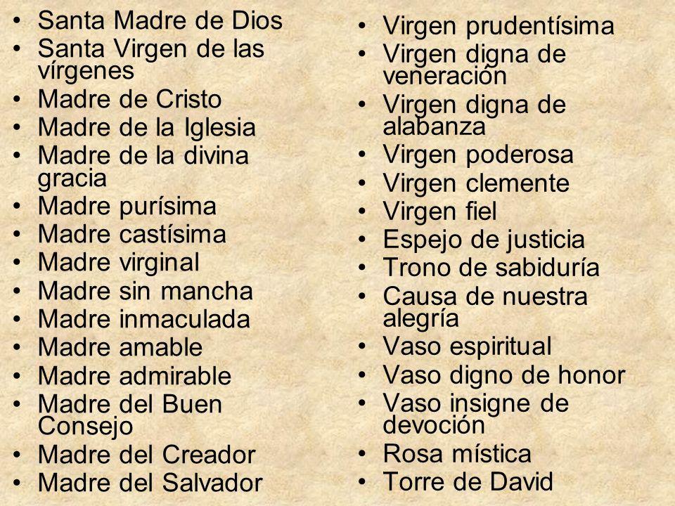 Santa Madre de Dios Santa Virgen de las vírgenes Madre de Cristo Madre de la Iglesia Madre de la divina gracia Madre purísima Madre castísima Madre vi