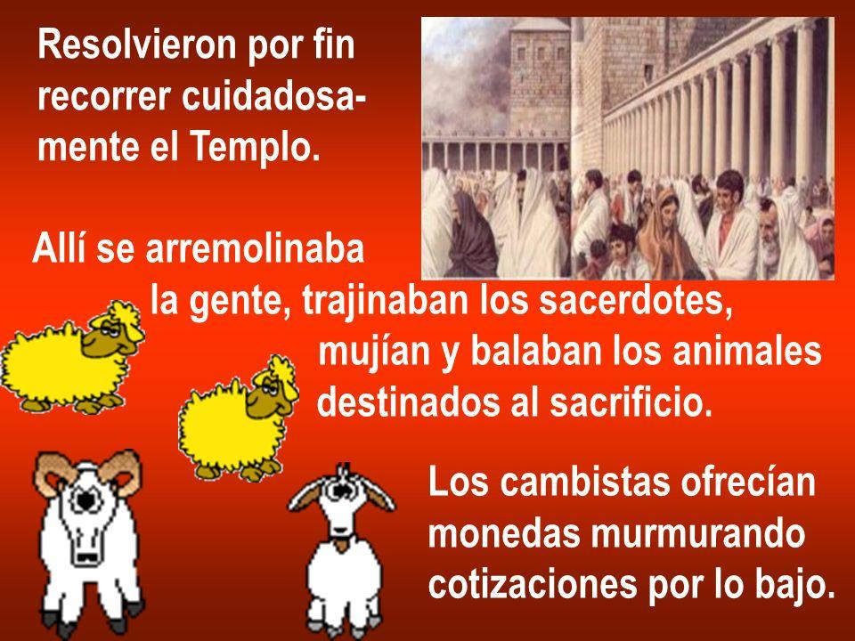 Resolvieron por fin recorrer cuidadosa- mente el Templo. Allí se arremolinaba la gente, trajinaban los sacerdotes, mujían y balaban los animales desti