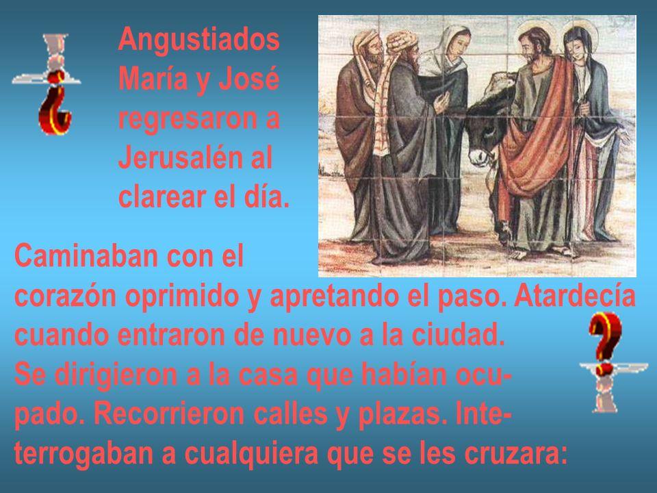 Angustiados María y José regresaron a Jerusalén al clarear el día. Caminaban con el corazón oprimido y apretando el paso. Atardecía cuando entraron de