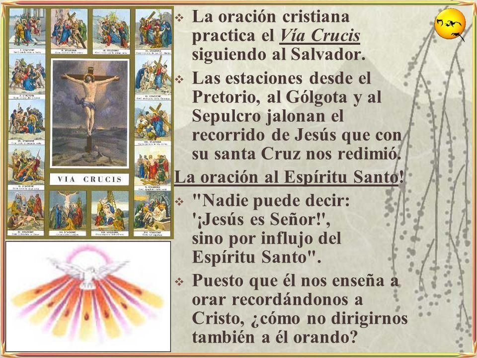 La oración cristiana practica el Vía Crucis siguiendo al Salvador. Las estaciones desde el Pretorio, al Gólgota y al Sepulcro jalonan el recorrido de