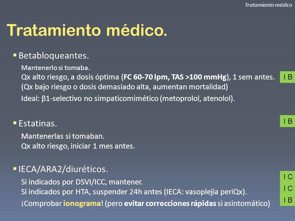 Tratamiento médico. Tratamiento médico Betabloqueantes. Mantenerlo si tomaba. Qx alto riesgo, a dosis óptima (FC 60-70 lpm, TAS >100 mmHg), 1 sem ante