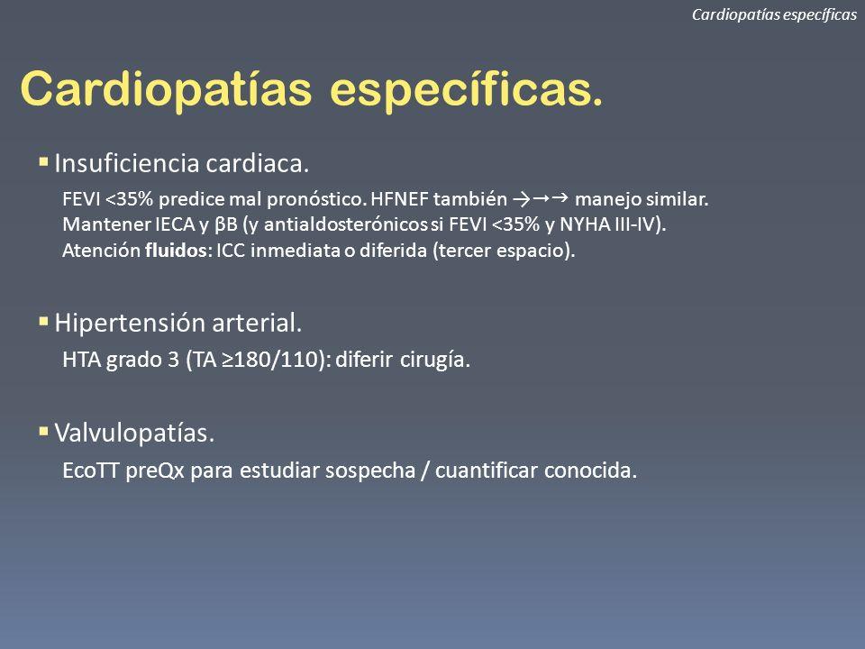 Cardiopatías específicas. Cardiopatías específicas Insuficiencia cardiaca. FEVI <35% predice mal pronóstico. HFNEF también manejo similar. Mantener IE