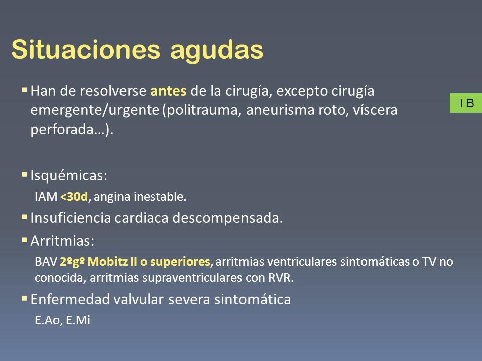 Alto (>5%) Cirugía vascular (aórtica, vasos principales o periférica).