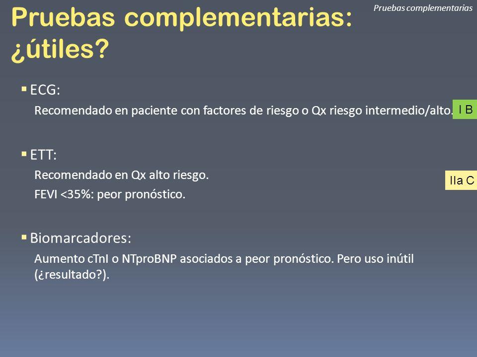 Pruebas complementarias: ¿útiles? Pruebas complementarias ECG: Recomendado en paciente con factores de riesgo o Qx riesgo intermedio/alto. ETT: Recome