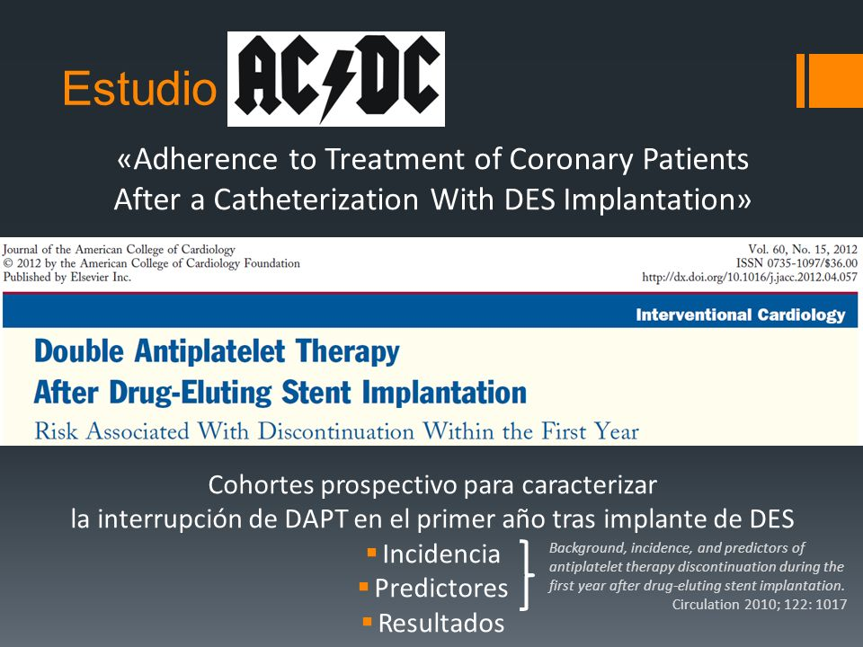 Estudio ACDC «Adherence to Treatment of Coronary Patients After a Catheterization With DES Implantation» Cohortes prospectivo para caracterizar la int