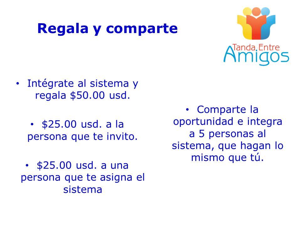 Regala y comparte Intégrate al sistema y regala $50.00 usd. $25.00 usd. a la persona que te invito. $25.00 usd. a una persona que te asigna el sistema