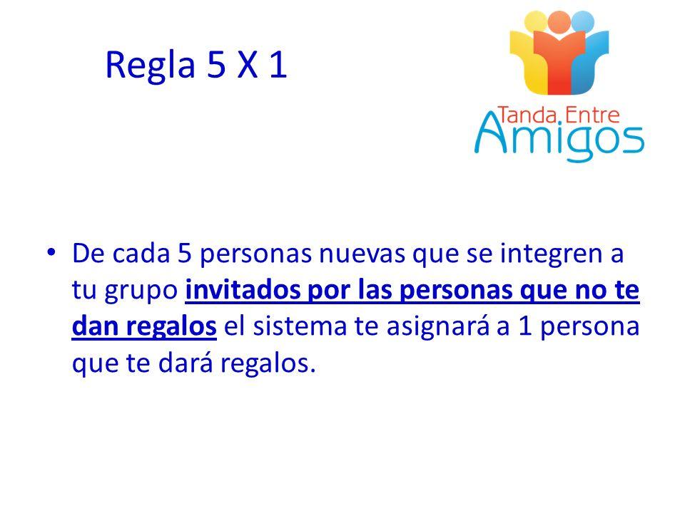Regla 5 X 1 De cada 5 personas nuevas que se integren a tu grupo invitados por las personas que no te dan regalos el sistema te asignará a 1 persona q