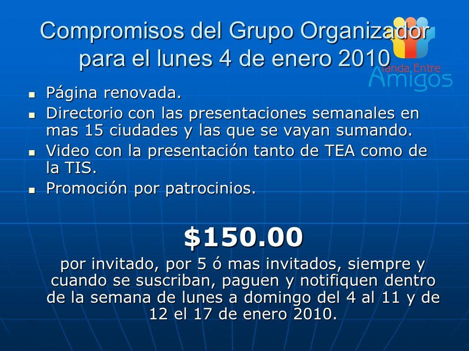 Compromisos del Grupo Organizador para el lunes 4 de enero 2010 Página renovada. Página renovada. Directorio con las presentaciones semanales en mas 1