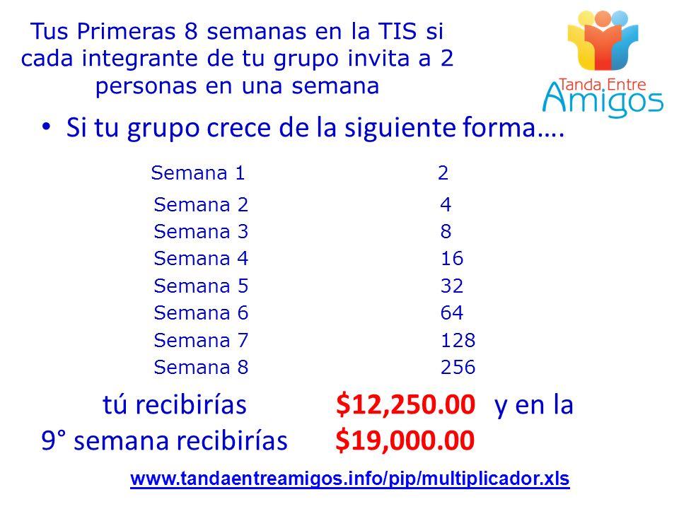 Tus Primeras 8 semanas en la TIS si cada integrante de tu grupo invita a 2 personas en una semana www.tandaentreamigos.info/pip/multiplicador.xls Si t