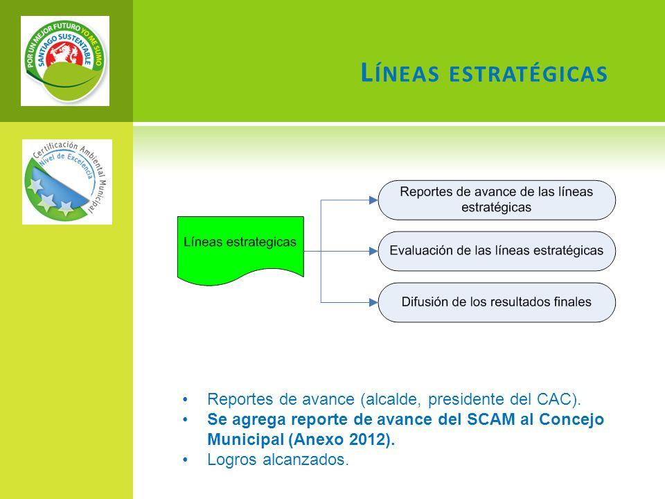 Reportes de avance (alcalde, presidente del CAC). Se agrega reporte de avance del SCAM al Concejo Municipal (Anexo 2012). Logros alcanzados. L ÍNEAS E