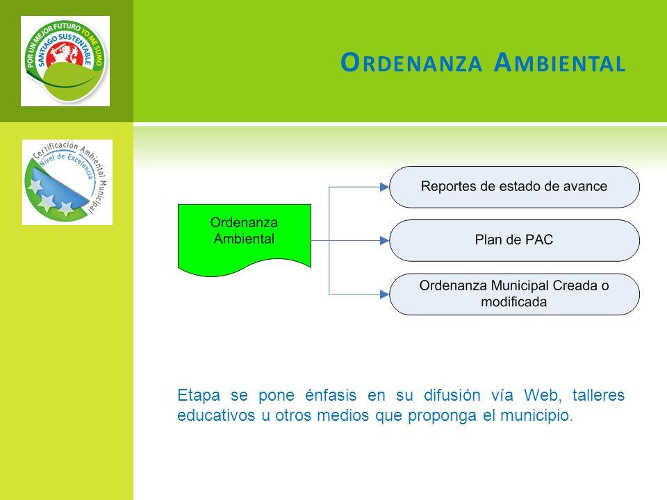 O RDENANZA A MBIENTAL Etapa se pone énfasis en su difusión vía Web, talleres educativos u otros medios que proponga el municipio.