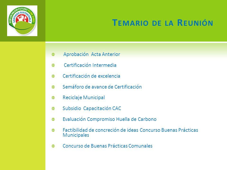 T EMARIO DE LA R EUNIÓN Aprobación Acta Anterior Certificación Intermedia Certificación de excelencia Semáforo de avance de Certificación Reciclaje Mu