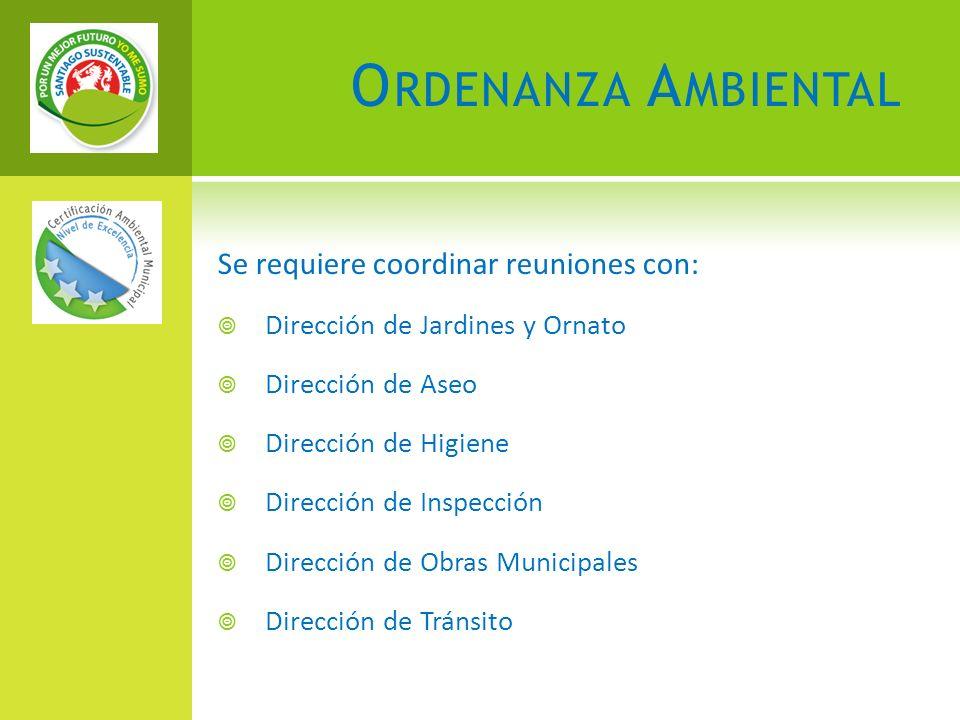 O RDENANZA A MBIENTAL Se requiere coordinar reuniones con: Dirección de Jardines y Ornato Dirección de Aseo Dirección de Higiene Dirección de Inspección Dirección de Obras Municipales Dirección de Tránsito