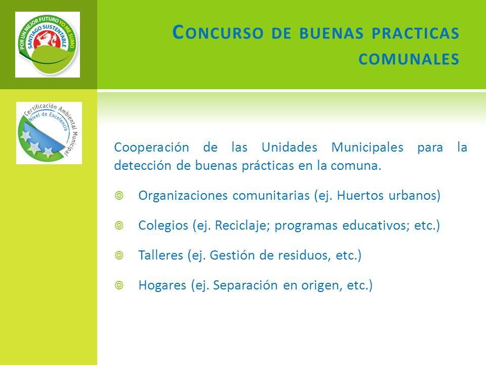 C ONCURSO DE BUENAS PRACTICAS COMUNALES Cooperación de las Unidades Municipales para la detección de buenas prácticas en la comuna. Organizaciones com