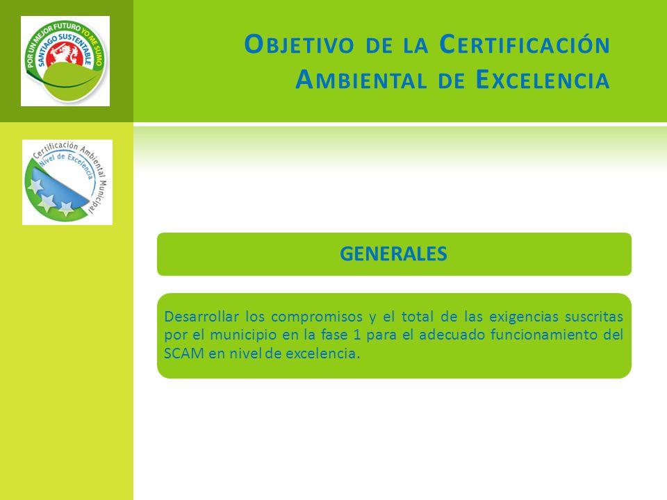 O BJETIVO DE LA C ERTIFICACIÓN A MBIENTAL DE E XCELENCIA GENERALES Desarrollar los compromisos y el total de las exigencias suscritas por el municipio