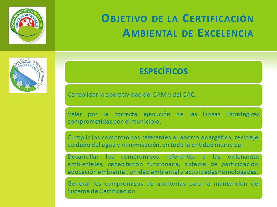 O BJETIVO DE LA C ERTIFICACIÓN A MBIENTAL DE E XCELENCIA ESPECÍFICOS Consolidar la operatividad del CAM y del CAC.