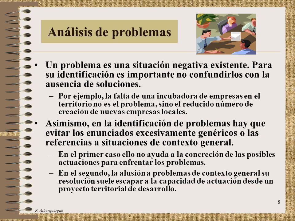 9 Árbol de problemas En el análisis de los problemas hay que establecer las relaciones de causa-efecto entre los mismos, a fin de poder elaborar una representación de dichas relaciones causales mediante un árbol de problemas.