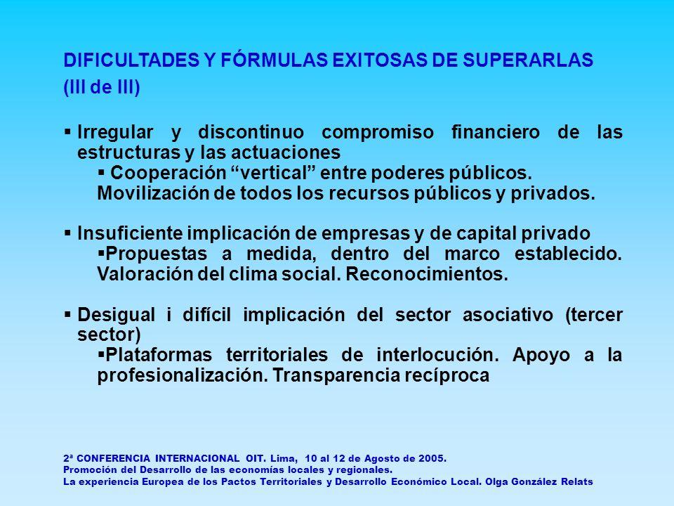 DIFICULTADES Y FÓRMULAS EXITOSAS DE SUPERARLAS (III de III) Irregular y discontinuo compromiso financiero de las estructuras y las actuaciones Cooperación vertical entre poderes públicos.