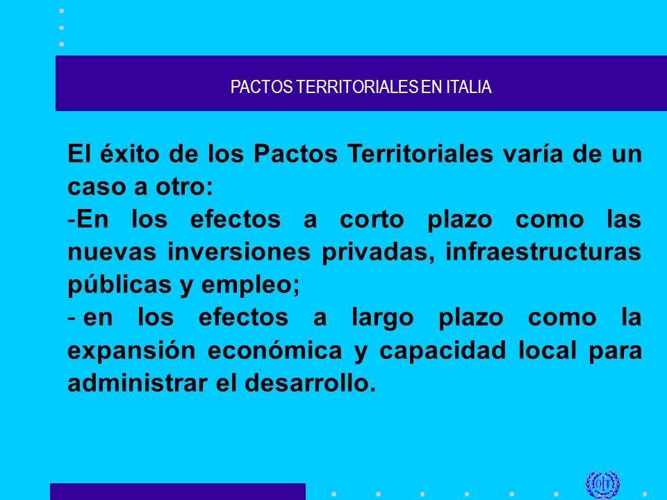 PACTOS TERRITORIALES EN ITALIA El éxito de los Pactos Territoriales varía de un caso a otro: -En los efectos a corto plazo como las nuevas inversiones privadas, infraestructuras públicas y empleo; - en los efectos a largo plazo como la expansión económica y capacidad local para administrar el desarrollo.