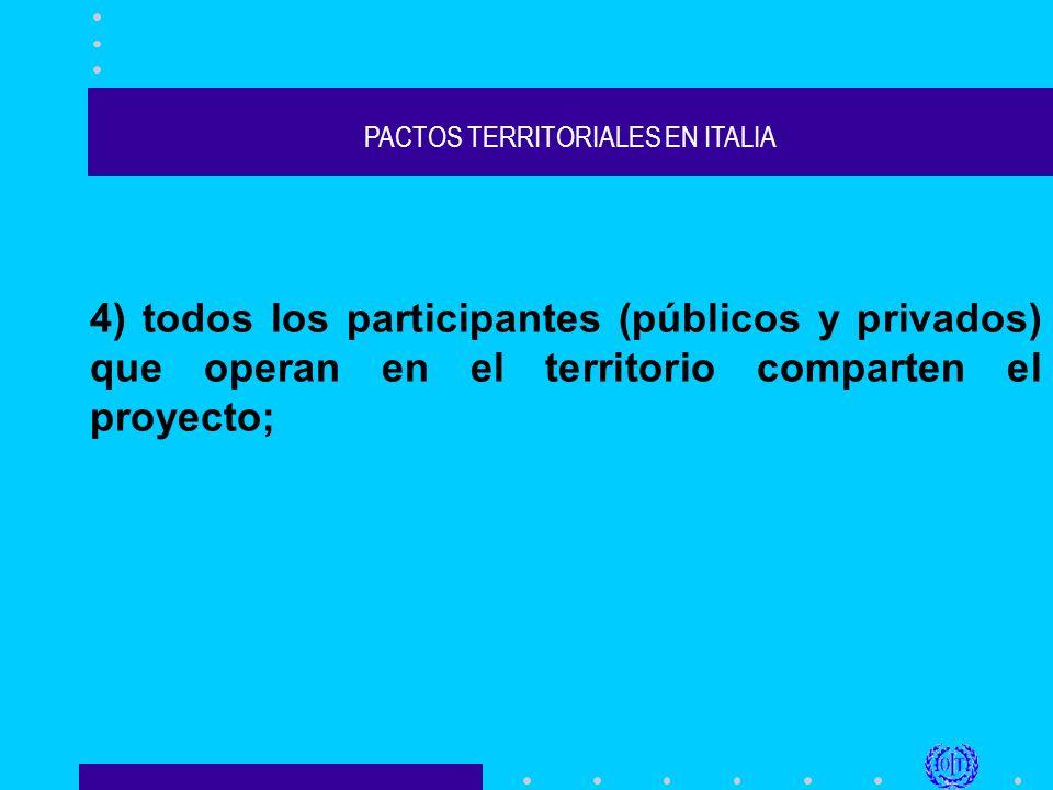 PACTOS TERRITORIALES EN ITALIA 4) todos los participantes (públicos y privados) que operan en el territorio comparten el proyecto;