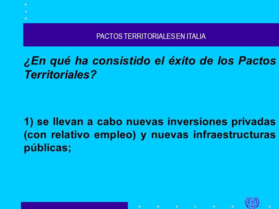 PACTOS TERRITORIALES EN ITALIA ¿En qué ha consistido el éxito de los Pactos Territoriales.