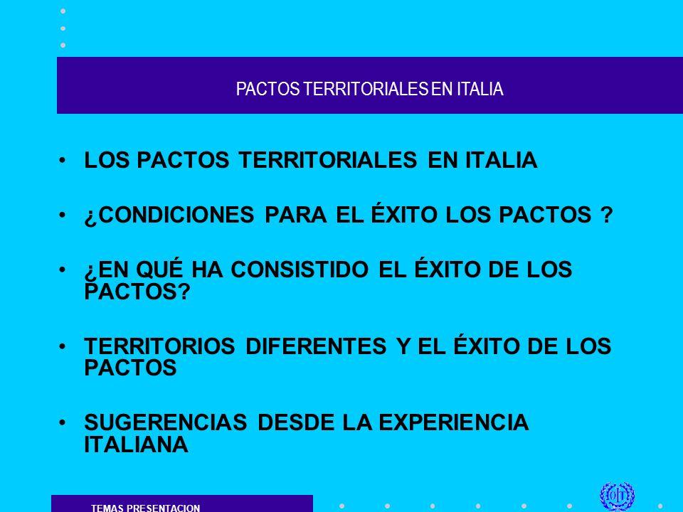 PACTOS TERRITORIALES EN ITALIA LOS PACTOS TERRITORIALES SON UN INSTRUMENTO DE LA PROGRAMACION NEGOCIADA; LA PROGRAMACION ES UNA HERRAMIENTA DE GOBIERNO CON LA CUAL SE DEFINEN LAS ACCIONES NECESARIAS PARA PONER EN MARCHA Y APOYAR EL DESARROLLO SOCIO ECONOMICO DE UN TERRITORIO;
