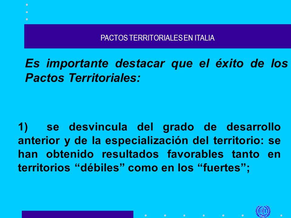 PACTOS TERRITORIALES EN ITALIA Es importante destacar que el éxito de los Pactos Territoriales: 1) se desvincula del grado de desarrollo anterior y de la especialización del territorio: se han obtenido resultados favorables tanto en territorios débiles como en los fuertes;