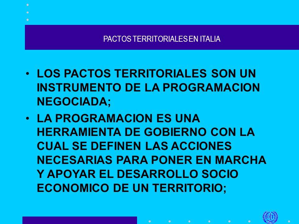 PACTOS TERRITORIALES EN ITALIA 2) se realiza previamente un análisis en detalle del contexto, de sus potencialidades y de los recursos del territorio; 3) se produce, a partir de ese análisis, un proyecto de desarrollo con prioridades razonables y objetivos precisos;