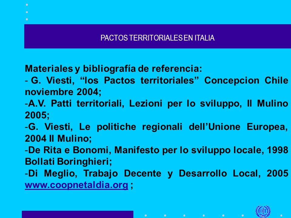 PACTOS TERRITORIALES EN ITALIA Materiales y bibliografía de referencia: - G.