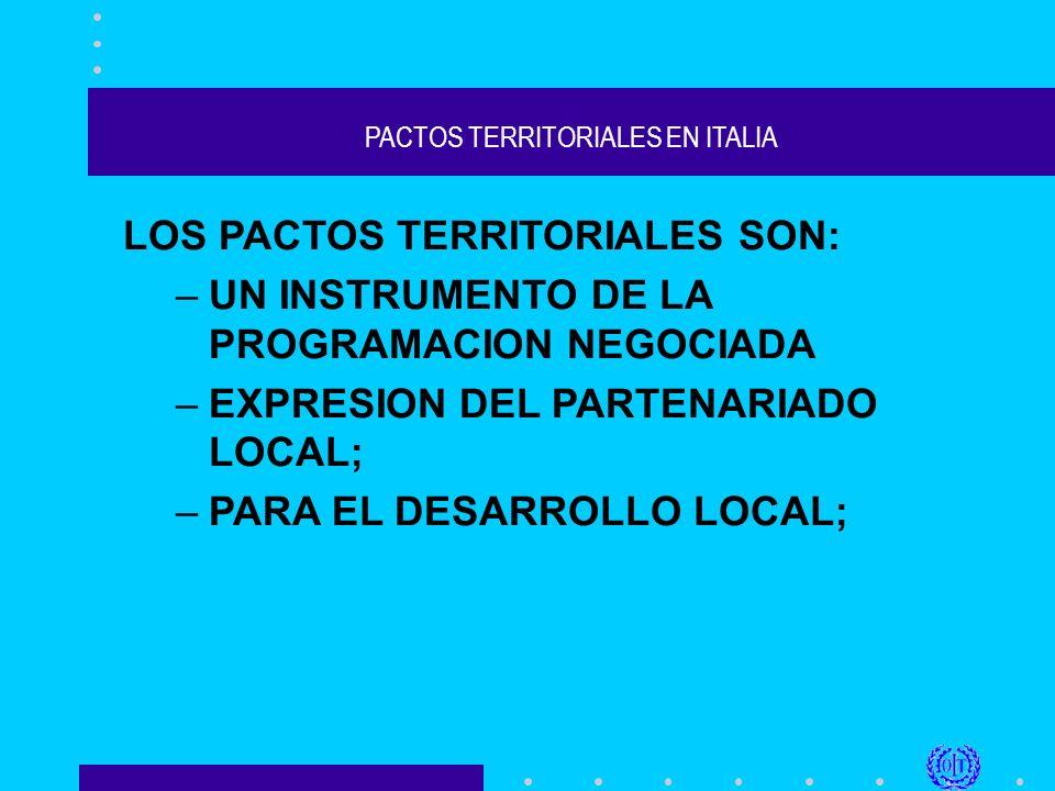 PACTOS TERRITORIALES EN ITALIA 6)todo ello supone, para que la experiencia de los Pactos Territoriales sea exitosa, trabajar mucho tiempo en las fases de análisis y de preparación; 7) un liderazgo (público o privado) durante el proyecto;