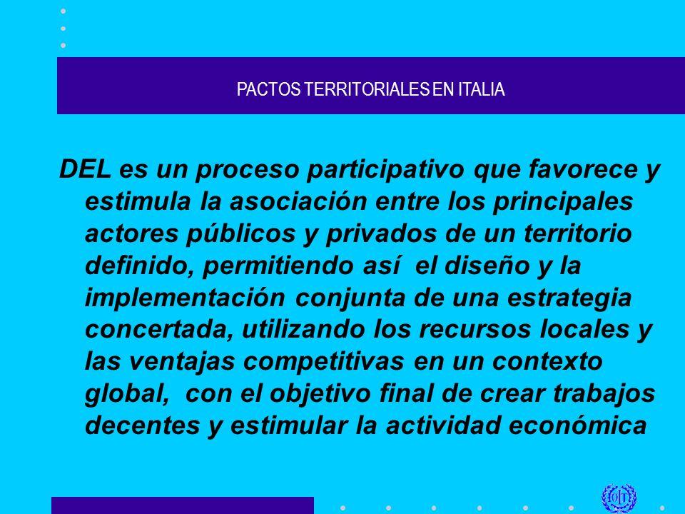 PACTOS TERRITORIALES EN ITALIA DEL es un proceso participativo que favorece y estimula la asociación entre los principales actores públicos y privados de un territorio definido, permitiendo así el diseño y la implementación conjunta de una estrategia concertada, utilizando los recursos locales y las ventajas competitivas en un contexto global, con el objetivo final de crear trabajos decentes y estimular la actividad económica