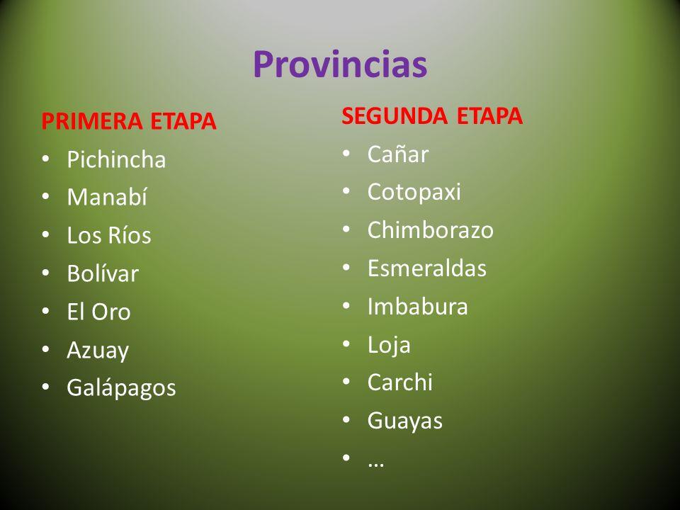Provincias PRIMERA ETAPA Pichincha Manabí Los Ríos Bolívar El Oro Azuay Galápagos SEGUNDA ETAPA Cañar Cotopaxi Chimborazo Esmeraldas Imbabura Loja Carchi Guayas …