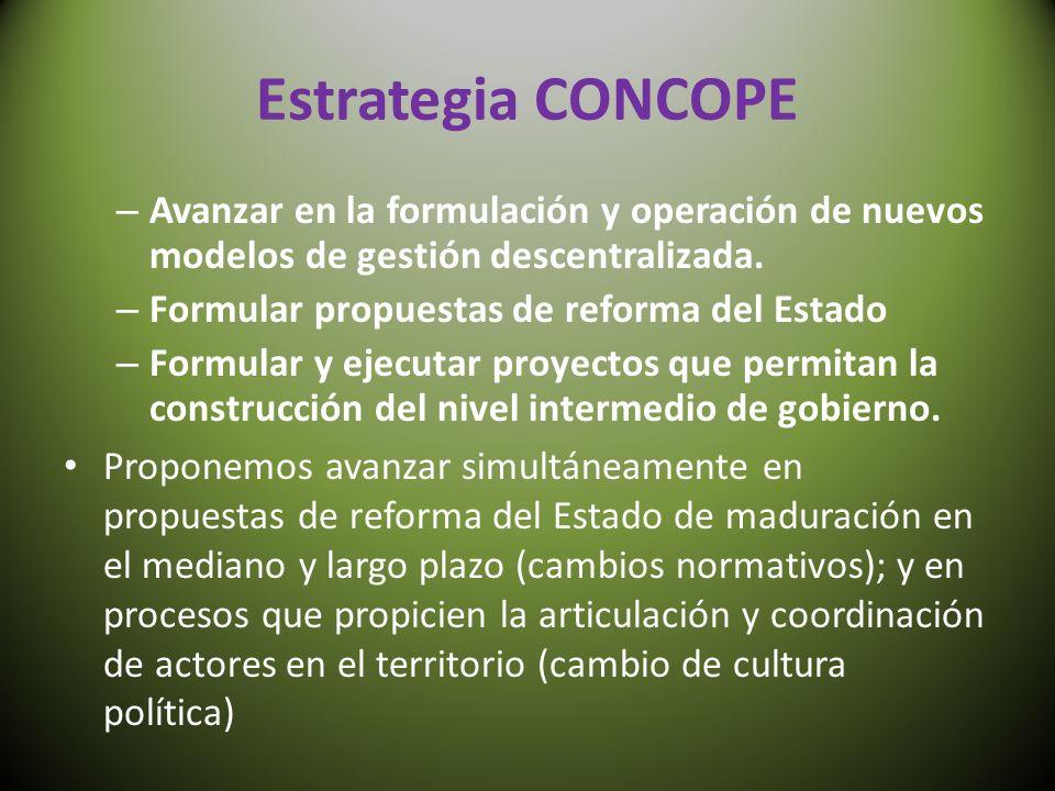 Estrategia CONCOPE – Avanzar en la formulación y operación de nuevos modelos de gestión descentralizada. – Formular propuestas de reforma del Estado –