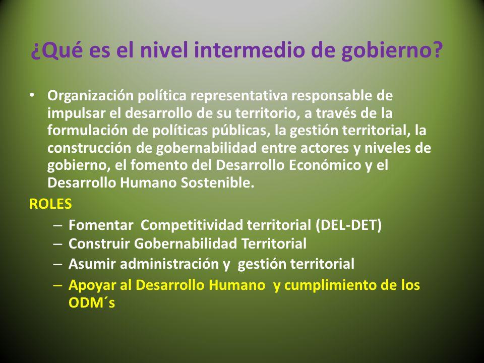 ¿Qué es el nivel intermedio de gobierno? Organización política representativa responsable de impulsar el desarrollo de su territorio, a través de la f