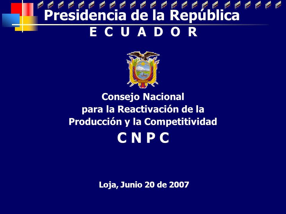 Consejo Nacional para la Reactivación de la Producción y la Competitividad C N P C Loja, Junio 20 de 2007 Presidencia de la República E C U A D O R