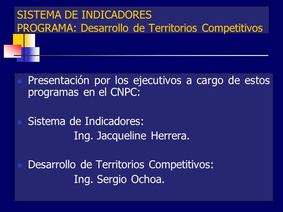 SISTEMA DE INDICADORES PROGRAMA: Desarrollo de Territorios Competitivos Presentación por los ejecutivos a cargo de estos programas en el CNPC: Sistema