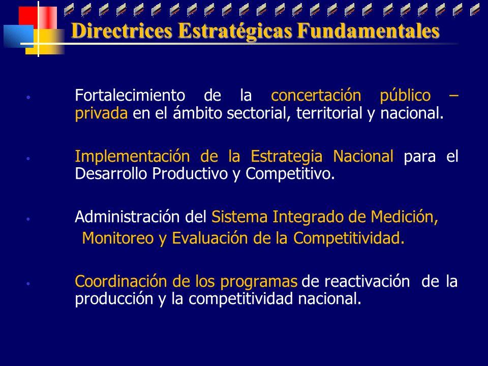 Directrices Estratégicas Fundamentales Fortalecimiento de la concertación público – privada en el ámbito sectorial, territorial y nacional. Implementa