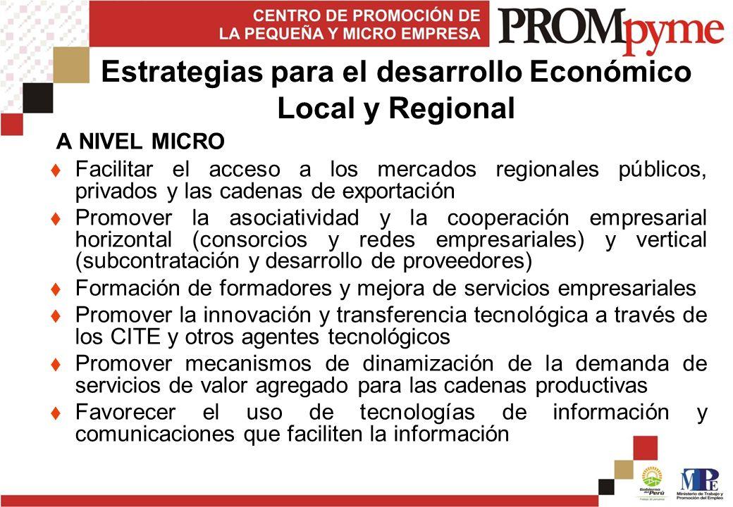 Estrategias para el desarrollo Económico Local y Regional A NIVEL MICRO Facilitar el acceso a los mercados regionales públicos, privados y las cadenas