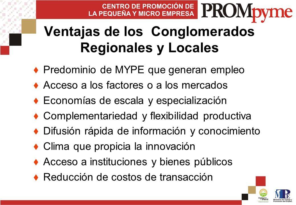 Ventajas de los Conglomerados Regionales y Locales Predominio de MYPE que generan empleo Acceso a los factores o a los mercados Economías de escala y