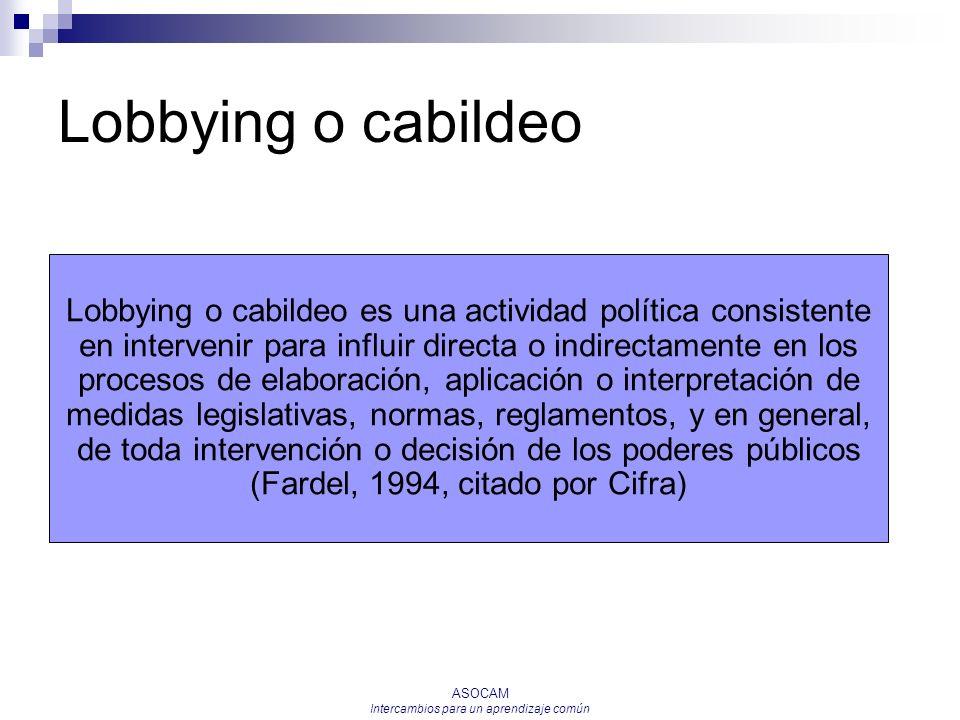 ASOCAM Intercambios para un aprendizaje común Lobbying o cabildeo Lobbying o cabildeo es una actividad política consistente en intervenir para influir