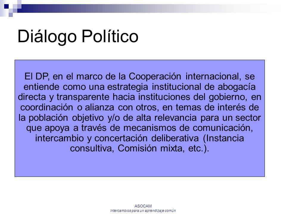 ASOCAM Intercambios para un aprendizaje común Diálogo Político El DP, en el marco de la Cooperación internacional, se entiende como una estrategia ins