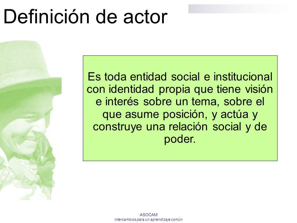 ASOCAM Intercambios para un aprendizaje común Definición de actor Es toda entidad social e institucional con identidad propia que tiene visión e inter