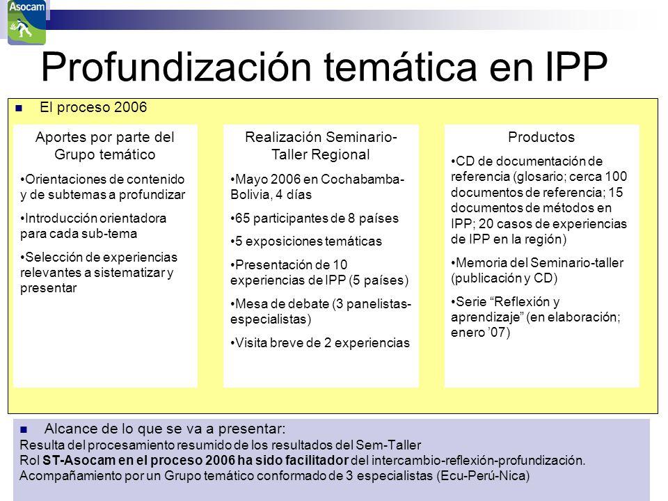 ASOCAM Intercambios para un aprendizaje común El proceso 2006 Profundización temática en IPP Aportes por parte del Grupo temático Orientaciones de con