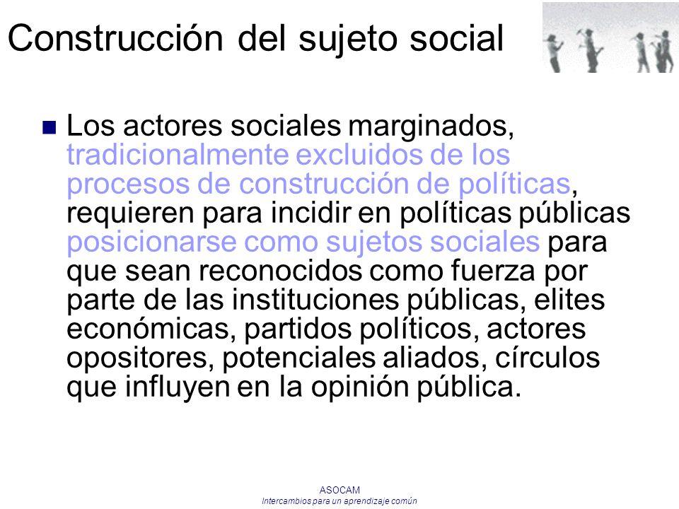 ASOCAM Intercambios para un aprendizaje común Los actores sociales marginados, tradicionalmente excluidos de los procesos de construcción de políticas