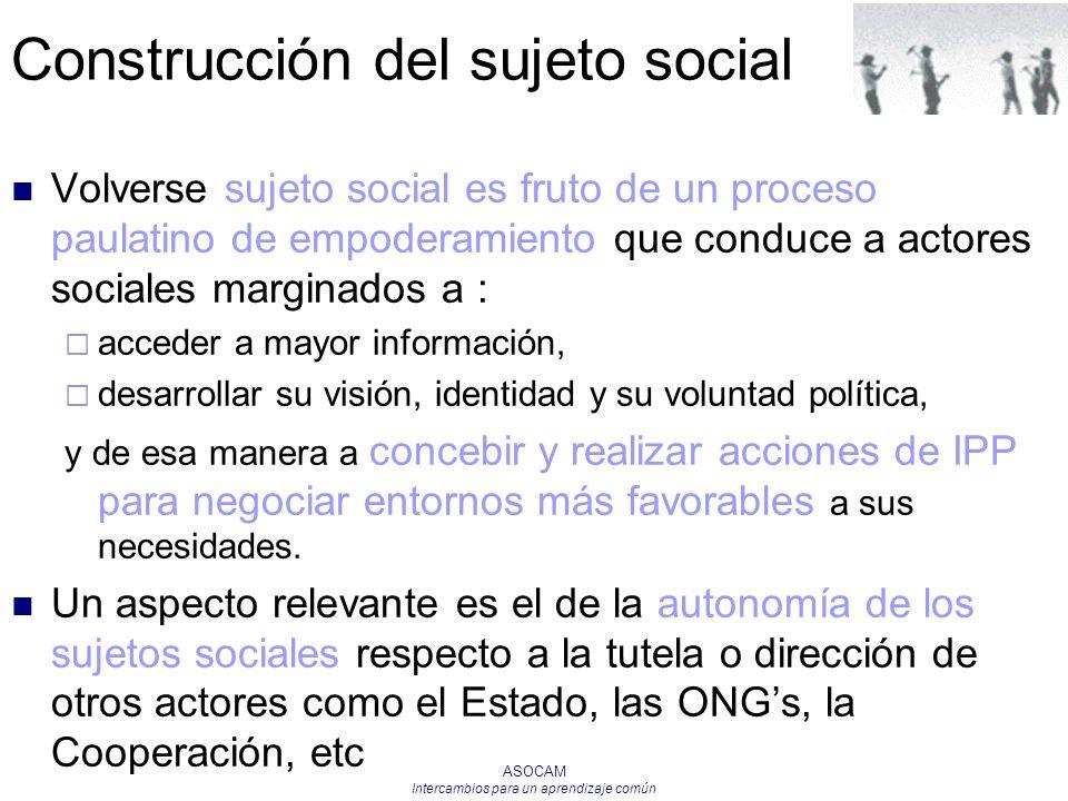 ASOCAM Intercambios para un aprendizaje común Volverse sujeto social es fruto de un proceso paulatino de empoderamiento que conduce a actores sociales